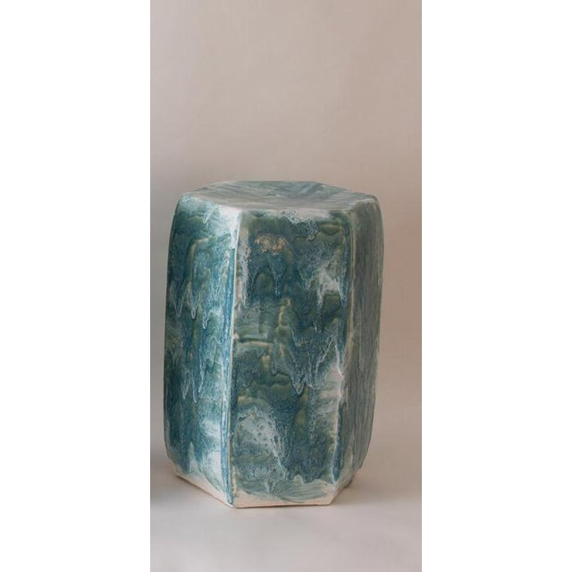 Paul Schneider Paul Schneider Ceramic Hexagonal Stool in Drip Brushed Turquoise Crackle Drip Glaze For Sale - Image 4 of 5