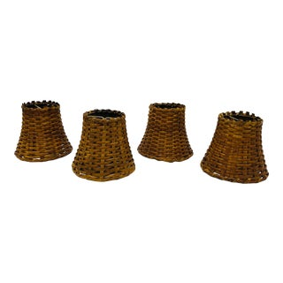 Late 20th Century Candelabra Wicker Lamp Shades - Set of 4 For Sale