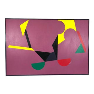 Original Abstract Framed Oil Painting on Canvas, Geometric Forms Against Purple - Signed Betty Gold For Sale