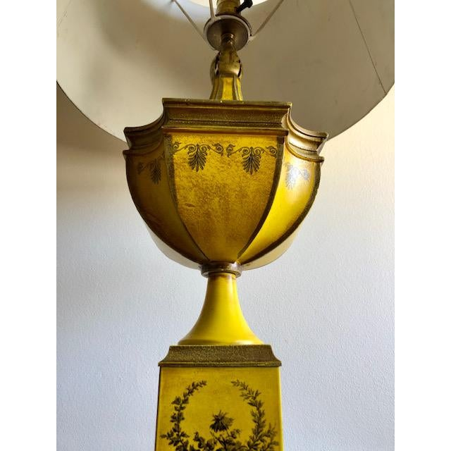 Yellow Tole Table Lamp With Tole Shade For Sale - Image 9 of 11