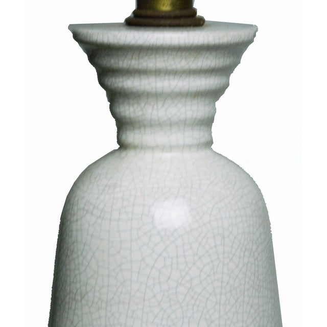 Mid-Century Modern Vintage White Crackled Lamp For Sale - Image 3 of 3