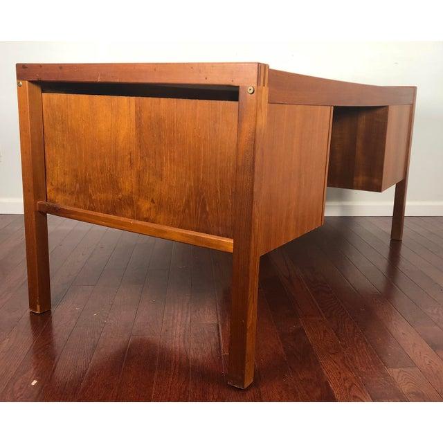 1960s Mid Century Modern Bent Silberg Teak Tanker Desk For Sale - Image 9 of 12