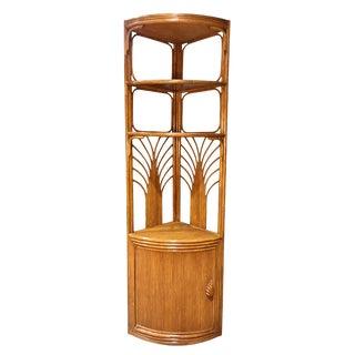 Mid-Century Rattan Style Corner Shelf For Sale