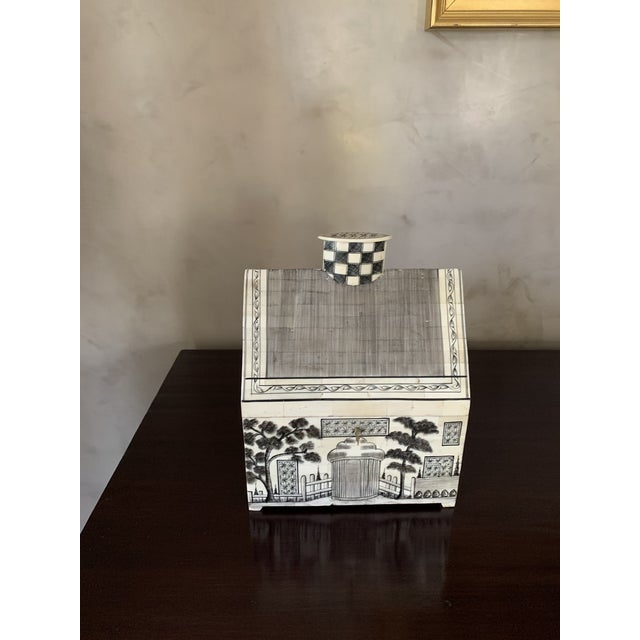 1990s John Rosselli Hand Painted House Shaped Money Box For Sale - Image 10 of 10