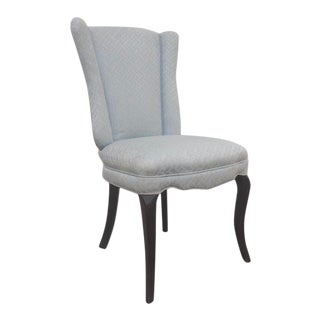 1960s Silk Upholstered Winged Side Chair For Sale