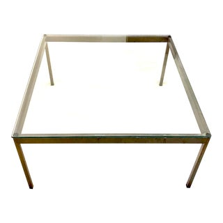 1970s Nicos Zographos Brass and Glass Coffee Table For Sale