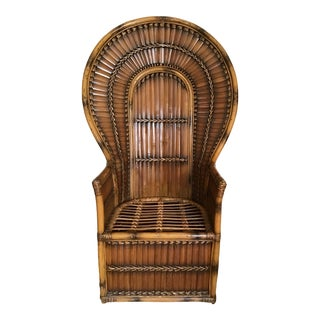 1970's Bamboo Rattan Peacock Chair For Sale