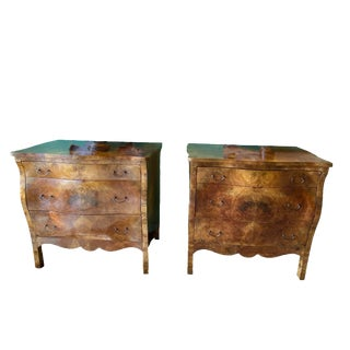 Italian Olive Wood Three Drawer Chest - a Pair For Sale