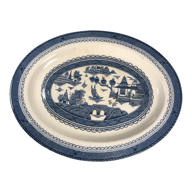 Woods & Sons Canton Blue Oval Platter Plate For Sale
