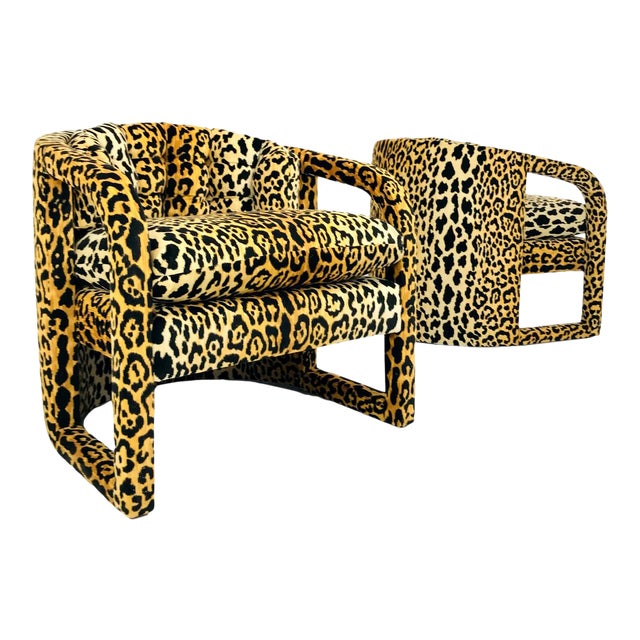 Pair of Custom Barrel-Back Armchairs in Leopard Velvet For Sale