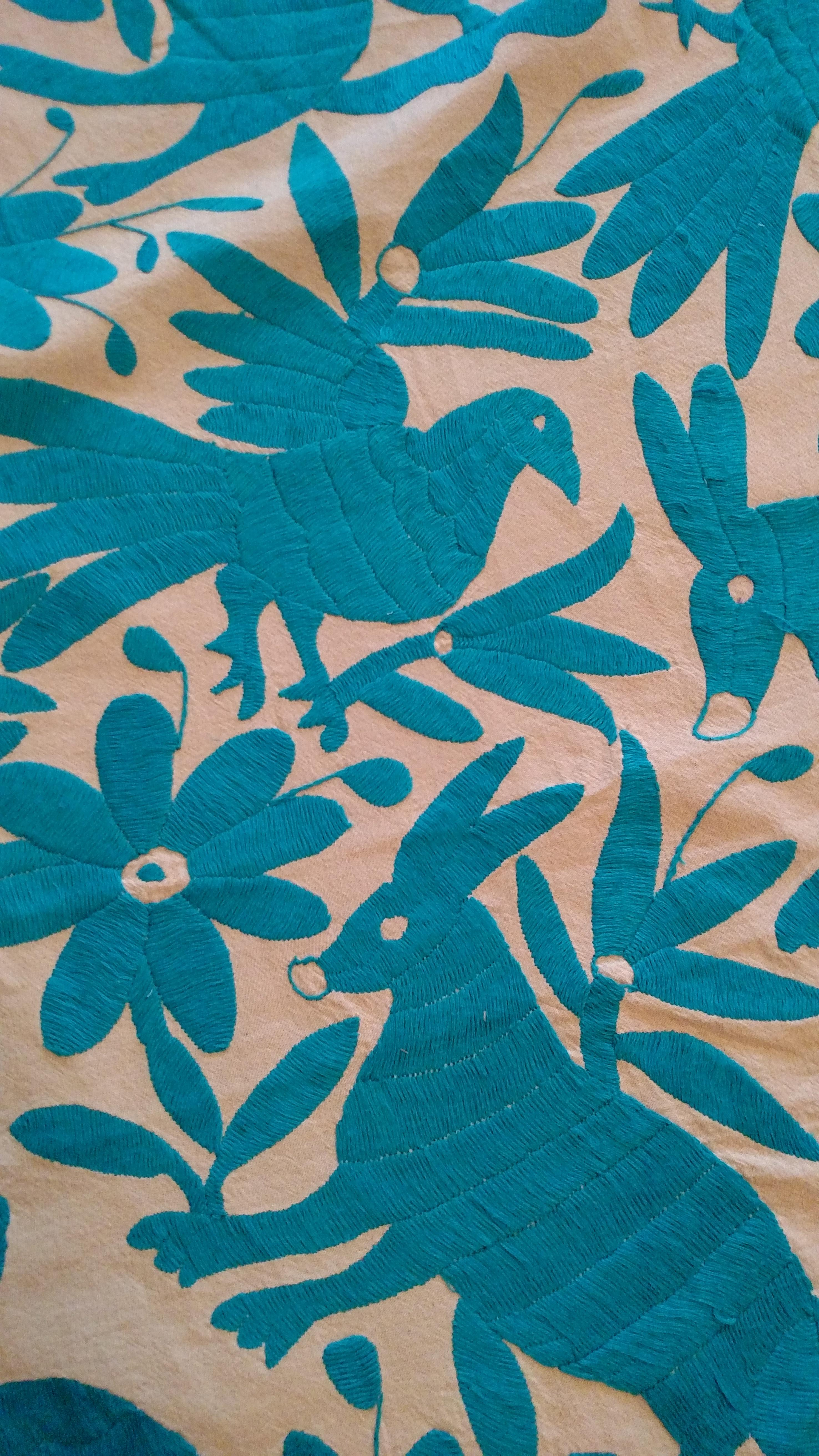 Blue Otomi Round Tablecloth Handmade In Mexico   Image 3 Of 3
