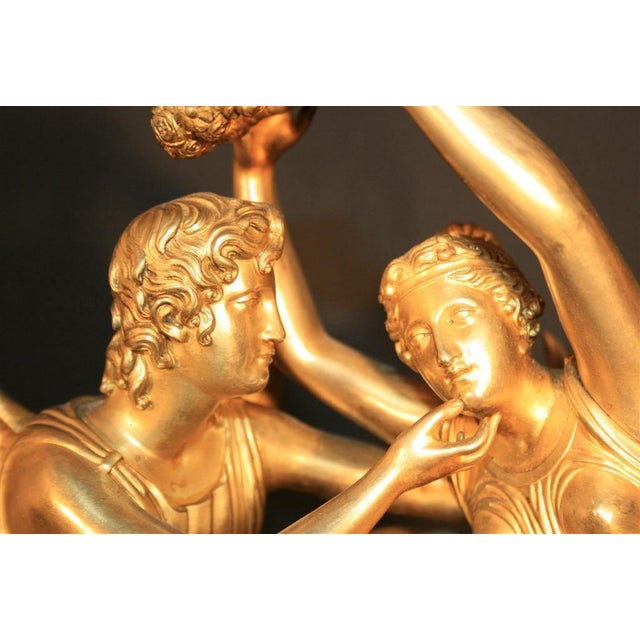 19th Century French Empire Gilt Dore Bronze Figural Amour & Psyche Mantel Clock For Sale - Image 4 of 7