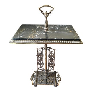 Victorian Cast Iron & Black Marble Top Smoking Table