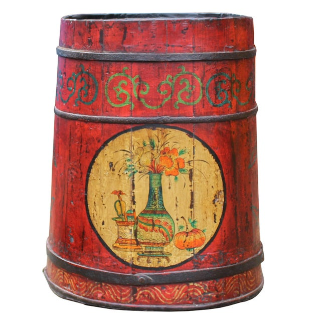 Yellow Distressed Chinese Tibetan Barrel Shape Red Floral Bucket Wood Container For Sale - Image 8 of 9