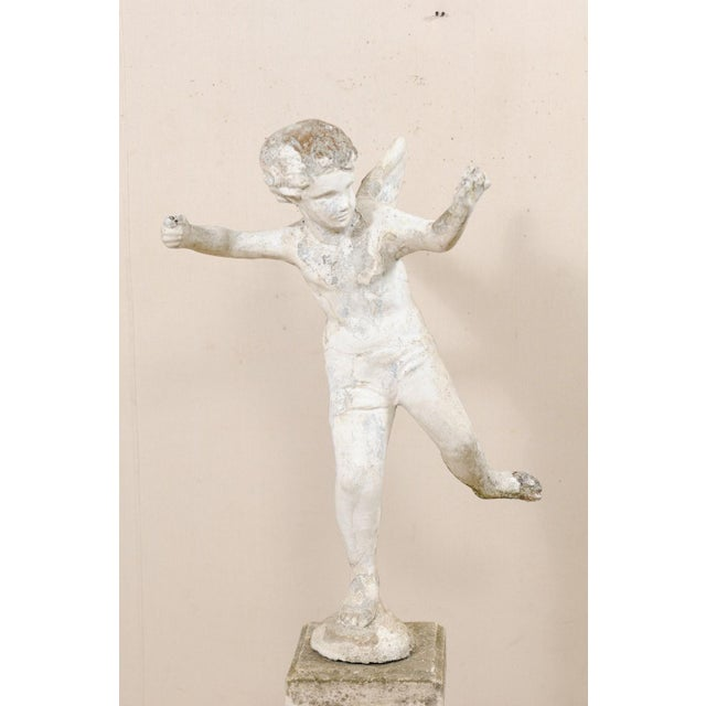 Early 20th Century French Antique Cupid Garden Statue For Sale - Image 4 of 12