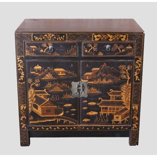 Square Corner Black Elm Cabinet With Gilt Painting Preview