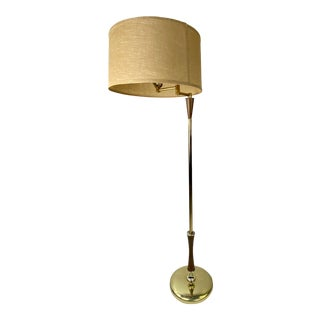Mid-Century Brass and Walnut Swing Arm Floor Lamp W/ Shade For Sale
