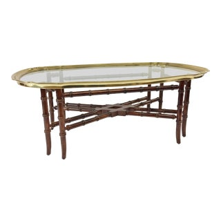 Vintage Faux Bamboo Coffee Table With Brass & Glass Top - in the Style of Baker Furniture For Sale