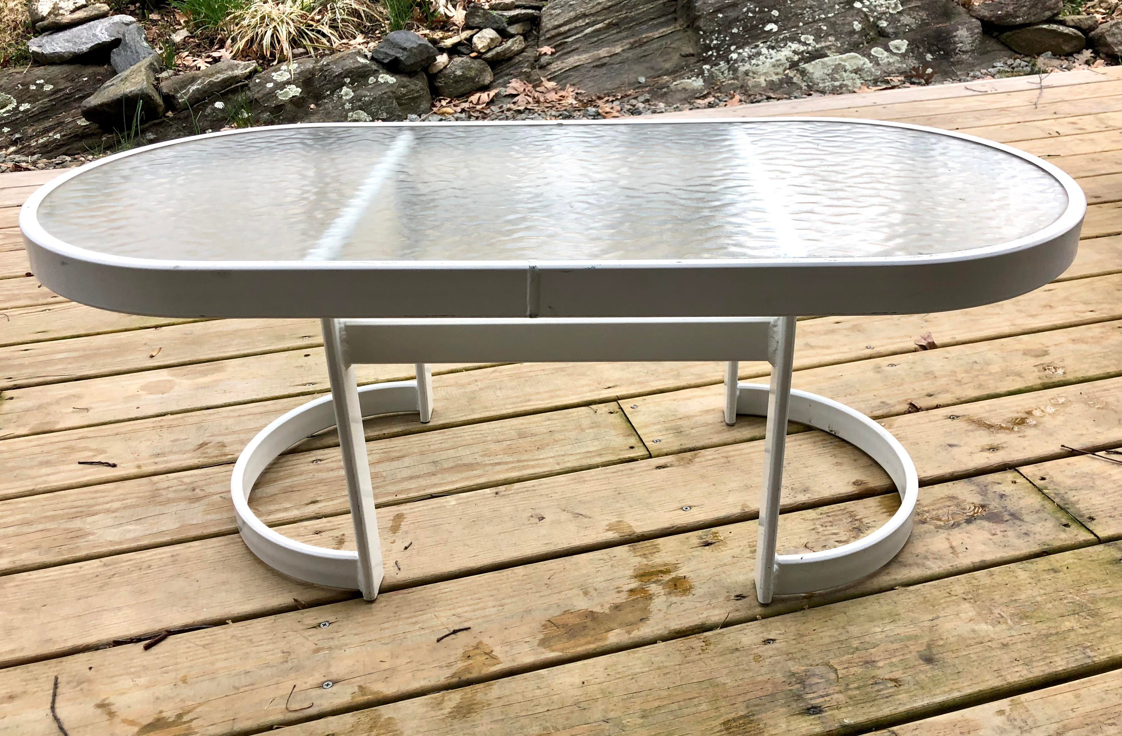 Vintage Modern Winston Coffee / Side Table In White Powder Coat And Glass  Top This Is