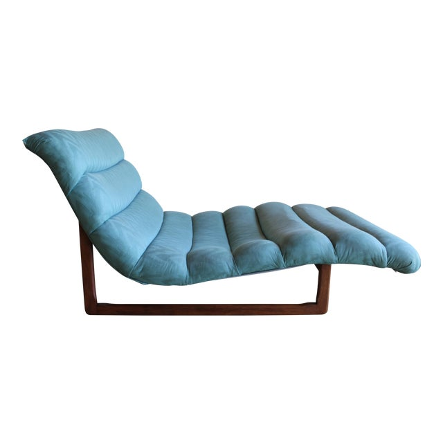 Mid Century Adrian Pearsall Attributed Tufted Wide Sculptural Chaise Lounge Chair For