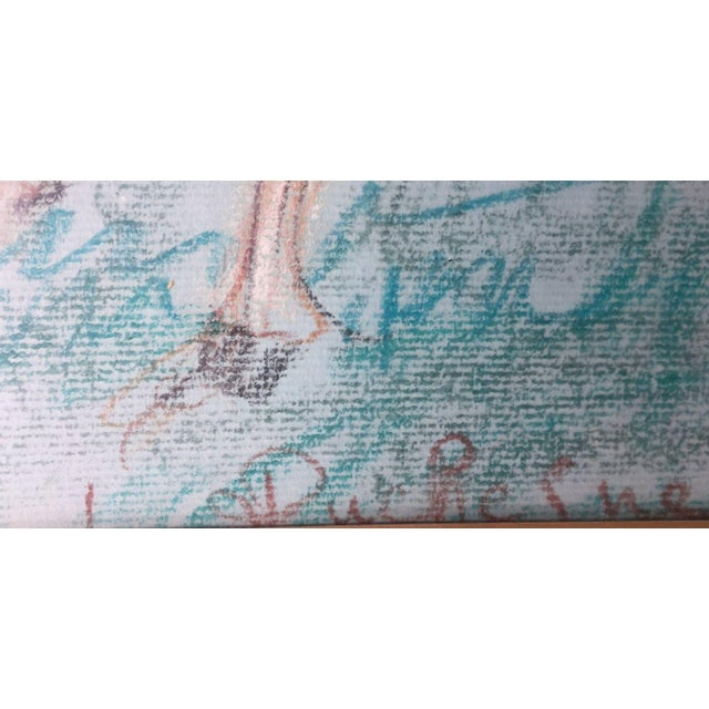 Teal 1950s Vintage French Hunting Scene Drawing For Sale - Image 8 of 9