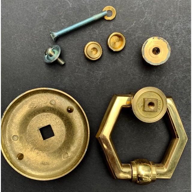 Italian Brass Hexagonal Ring Door Knocker For Sale In Chicago - Image 6 of 11