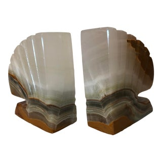 Art Deco White Marble Bookends - a Pair For Sale