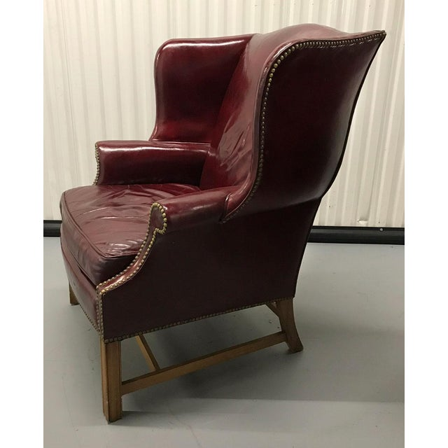 1970s Vintage Leather Wingback Chairs — a Pair For Sale - Image 5 of 13