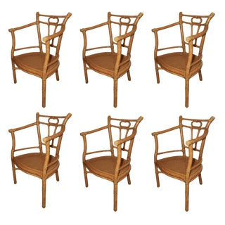 Vintage Mid Century McGuire Bamboo & Laced Rawhide Caned Seat Armchairs- Set of 6 For Sale