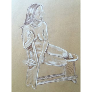 Mid Century Study of Seated Nude, Drawing For Sale
