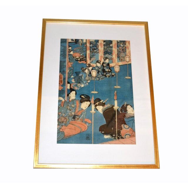 Original Utagawa Kuniyoshi Japanese Woodcut Print on Paper in gilt Frame. Marked by Artist: Kuniyoshi (1798-1861) and...