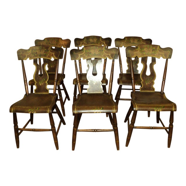 Late 19th Century Antique Hitchcock Style Painted Dining Room Side Chairs- Set of 6 For Sale