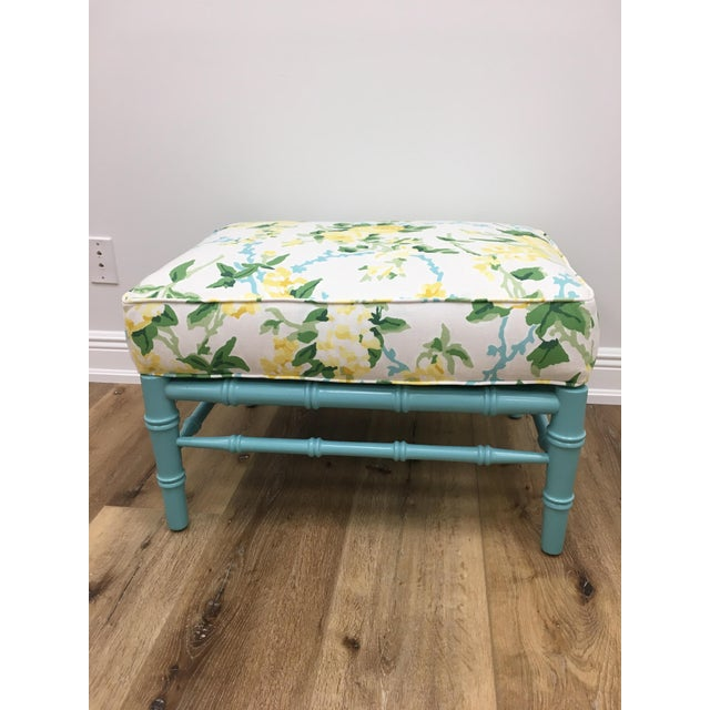Dana Gibson Transitional Sky Blue and White Floral Cottonwood Ottoman For Sale - Image 4 of 7