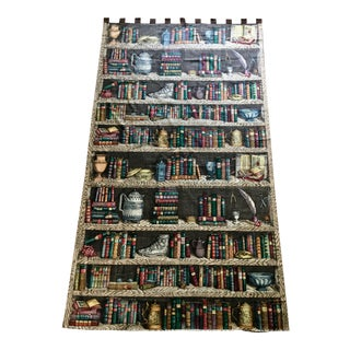 "Vintage Fornasetti ""Libreria"" Fabric Drapery Panels - A Pair For Sale"
