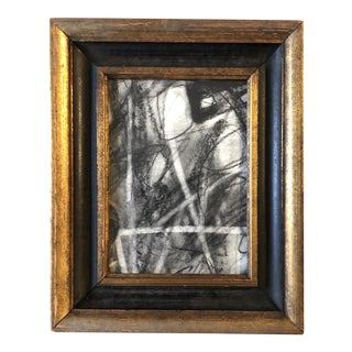 Original Contemporary Abstract Charcoal Study Drawing Vintage Frame For Sale