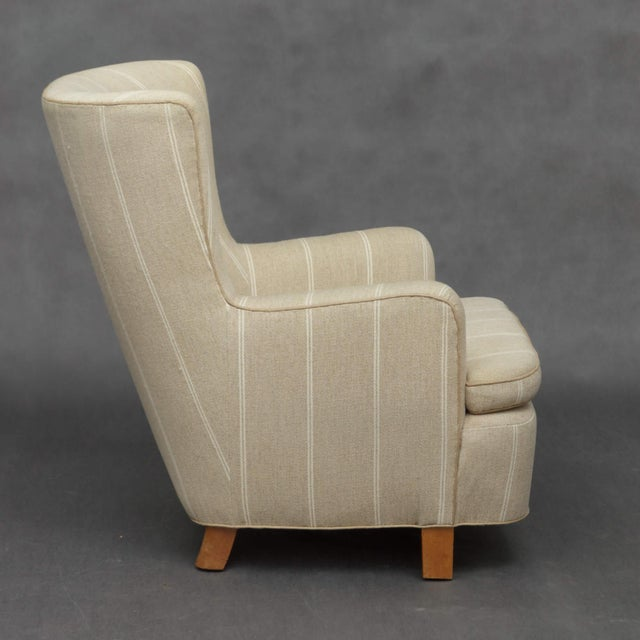 Danish Modern 1940s Danish Wing Back Armchair in Thick Striped Wool For Sale - Image 3 of 9