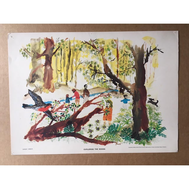 """Asian Mid-Century Classroom Teaching Poster """"Exploring the Woods"""", 1962 For Sale - Image 3 of 3"""