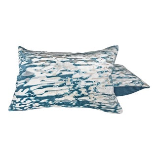 Holly Hunt Reflection Pool Velvet Lumbar Pillows- A Pair For Sale
