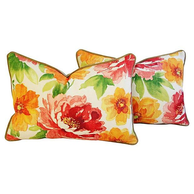 Pair of custom-made pillows in a colorful vintage/never used floral fabric. Pillows backs are a ultra-soft, golden fawn-...