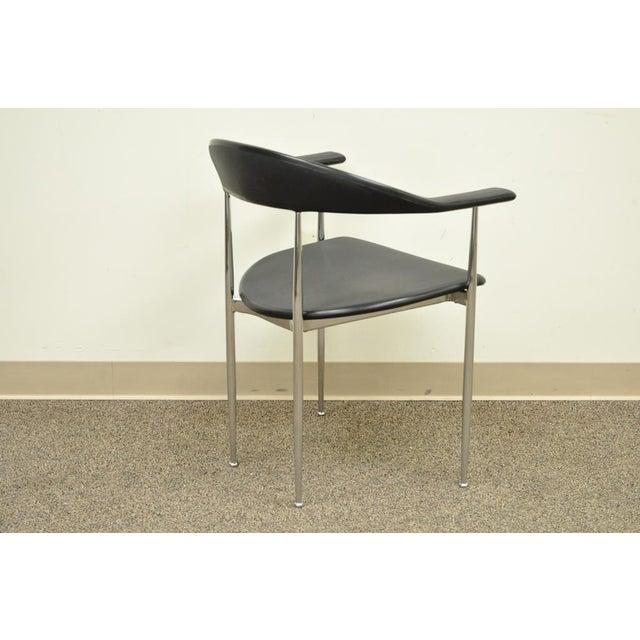 Fasem Vintage Mid Century Modern Fasem Chrome & Molded Vinyl Italian Desk Arm Chair For Sale - Image 4 of 11