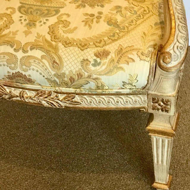 Wood Pair of Louis XVI Style Carved Giltwood Bergère Chairs With Scalamandre Fabric For Sale - Image 7 of 13