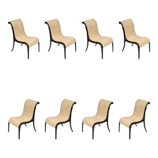 Rare Set of Eight Paul Frankl Skyscraper Dining Chairs For Sale