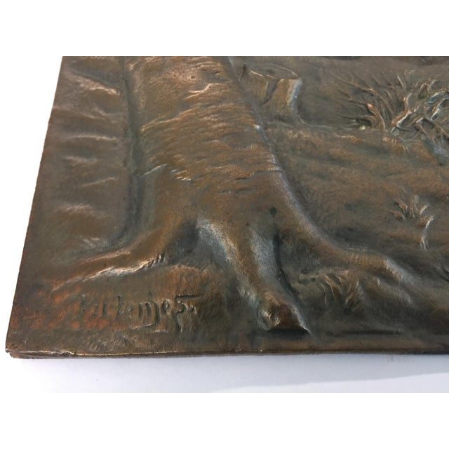 Bronze Relief Placque Wild Boar by H Henjes Circa 1880 For Sale - Image 4 of 7