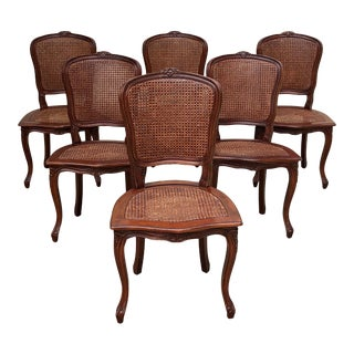 Louis XV Caned Dining Chairs With Carved Detail - Set of 6 For Sale