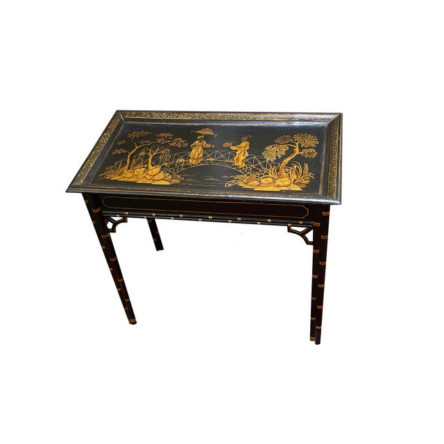 English Black Lacquer and Parcel Gilt Table For Sale In Dallas - Image 6 of 6