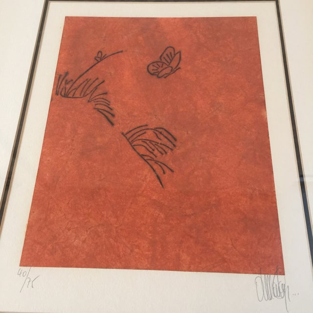 """1980s """"Butterfly"""" Orange & Red Serigraphs - A Pair For Sale - Image 5 of 11"""