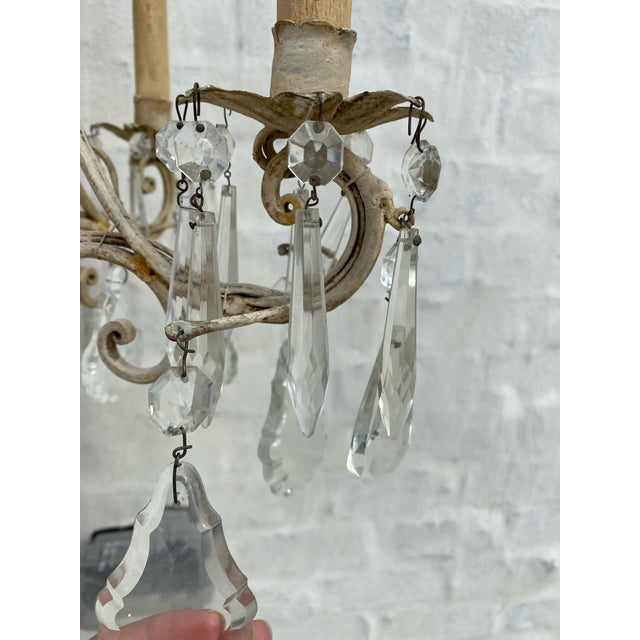 Shabby Chic Antique 1940s Painted Metal and Crystal Chandelier For Sale - Image 3 of 7