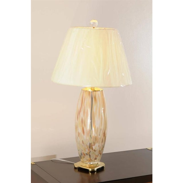 Italian Stunning Pair of Blown Murano Lamps with Brass and Lucite Accents For Sale - Image 3 of 9
