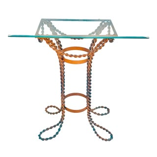 1970s Hollywood Regency Metal Rope Accent Table For Sale