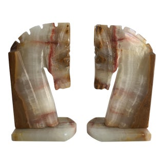 Vintage Art Deco Style Solid Onyx Trojan Horse Bookends - A Pair